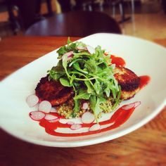 Tuna cakes, tabbouleh, red pepper coulis and arugula at Tender Greens Walnut Creek