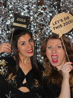 A really fun and popular element at events these days are photo booths. With a bling background and a few DIY props you can have your own photo fun at your house party.