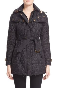 Burberry Brit 'Finsbridge' Belted Quilted Jacket available at #Nordstrom