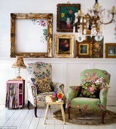 Chairs, paintings, chandelier love the colors and patterns