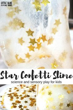 Star Confetti Slime for Slime Science and Sensory Play Space theme or holidays