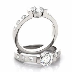 A semi-bezel engagement ring setting for the round diamond of your choice accompanied by three bezel set round diamonds on a petite band. Shown with a center stone. Three Diamond Ring, Diamond Girl, Diamond Solitaire Rings, Round Cut Engagement Rings, Engagement Ring Settings, Anniversary Ideas, Diy Fashion, Round Diamonds, Bracelets