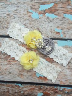 Garter / Wedding Garter / Gray and Yellow by CutieButtsBoutique, $24.99  I really really like these!