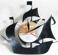 Velero reloj de pared de discos de vinilo. La por VinylImage
