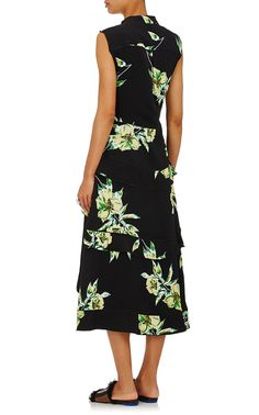 Proenza Schouler Lily-Print Silk Midi-Dress | Barneys New York
