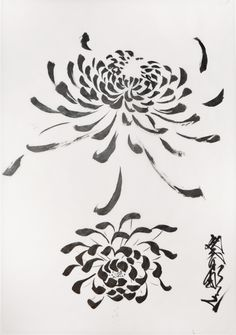 Ink Painting Style Chrysanthemums by Horiyoshi III (Ref#: JPR5806)