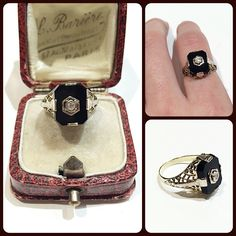 We can't ever seem to have enough of this classic 20's variety of ring in stock!  White gold filigree & onyx and diamond. $495. Call to purchase or request messaged info below. #vintagejewelry #vintagering #onyx #diamonds #filigree #gilt #giltjewelry #gemsetlove #gsl
