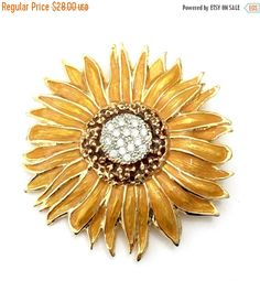 Large Sunflower Brooch Enameled Petals Pave Ice by Vintageimagine