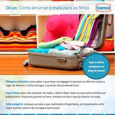 Vai viajar nas férias e ainda tem dúvidas de como fazer a mala de forma prática? Separamos para você algumas dicas de como arrumar a mala para as férias.  Saiba mais em nosso blog: http://blog.bemol.com.br/blog/2014/01/dicas-de-como-…para-as-ferias/