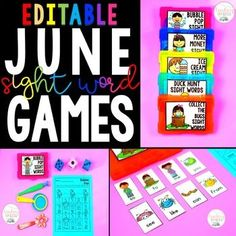 June Sight Word Games Editable - Teach your students ANY Sight Words with these Silly Sight Word Games™! Did you know that research says students learn more through interactive hands on learning? These 5 games are completely editable for you to use with any of your sight words. Use these games during whole group instruction, flexible grouping, centers, warm up, RTI intervention or any other time during your day. Sight Word Worksheets, Sight Word Games, Sight Words, Classroom Fun, Classroom Activities, Phonics Games, High Frequency Words, Science Lessons, Interactive Notebooks