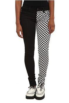 Royal Bones Split Leg Black And White Checker Skinny Jeans #HotTopic $39.50
