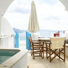 Caldera view, Santorini, Greece Santorini Greece, Places Ive Been, To Go, Patio, Outdoor Decor, Travel, Home Decor, Viajes, Decoration Home