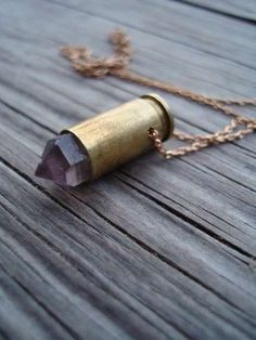 The Amethyst Bullet Necklace is Made From a Real 9 mm Shell #Jewelry trendhunter.com