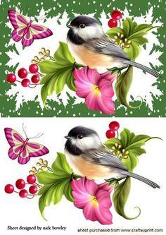 PRETTY BIRD ON BRANCH OF FLOWERS  on Craftsuprint - Add To Basket!
