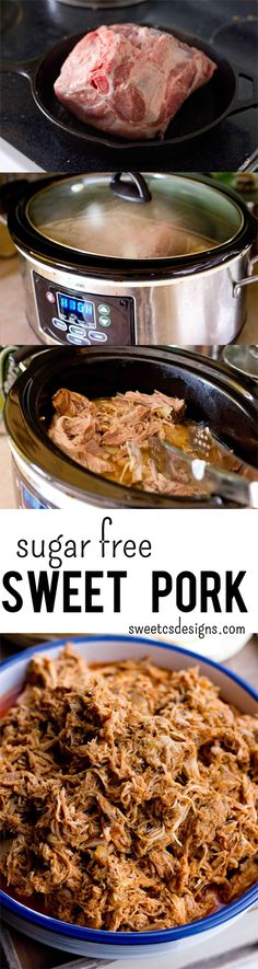 sugar free sweet pork! This recipe uses zevia beverages instead of sugar packed soda or artificial sweeteners and is low calorie without sacrificing any flavor- at sweetcsdesigns.com ! #sugarfree #paleo #sweetpork