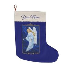 Angel Nocturne Large Christmas Stocking - blue gifts style giftidea diy cyo
