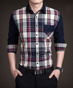 New Plaid Fashion Dress Men Shirt Slim Fit Long Sleeve Plus Size Male  Social Casual Shirts Camisa