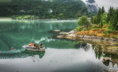 https://flic.kr/p/mm173L | Emerald Reflection of a Fjord Cliff, Norway | Explored at #1 on 3/24/2014  Lustra Fjord, Norway