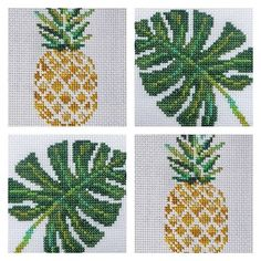 DMC Colour Variations - Download both the 'Pineapple' and 'Tropical Leaf' pattern free on our webpage  #linkinbio #DMC #free #pattern #crossstitch #handmade #tropical #pineapple #DIY #leutenegger