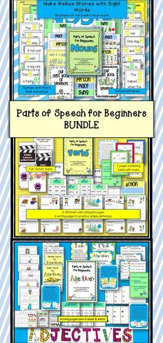 All three 'Parts of Speech for Beginners' packets in one download...a money saver for you. This bundle also includes the free download of 'Pronouns', completing the parts of speech introduction to your little ones.   AND NOW, ALL PACKETS HAVE A BLACK/WHITE OR GRAYSCALE OPTION. $