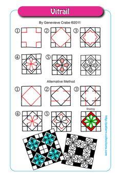 Vitrail Tangle, Zentangle Pattern by Genevieve Crabe Zen Doodle Patterns, Mandala Pattern, Zentangle Patterns, Tangle Doodle, Tangle Art, Doodle Art, Zentangle Drawings, Doodles Zentangles, Drawing Projects
