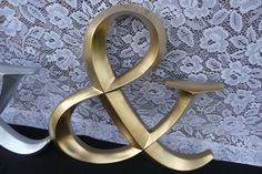 GOLD or SILVER Hand Painted Large Wood AMPERSAND Wedding