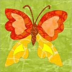 Patchwork en Casa - Patchwork with Love: Bloque de la Semana: Aplicación de Mariposa