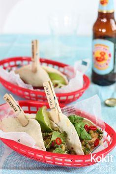 Kalatacot raparperisalsalla - Fish tacos with rhubarb salsa (in Finnish) Fish Tacos, Us Foods, Saga, Mexican, Tableware, Kitchen, Recipes, Dinnerware, Cooking