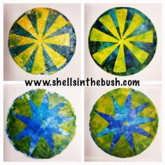 How to and tips on the blog for these quilt inspired round gelli plate prints by Michelle Reynolds.