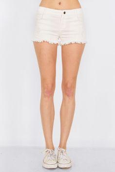 Classic White Denim Shorts