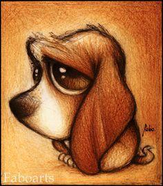 Basset hound by ~faboarts on deviantART. Sooooo cute! !! I love them