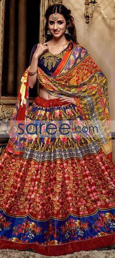 MULTI COLOR BANGALORE SILK PRINTED LEHENGA CHOLI #LehengaCholi #BanarasiLehenga #IndianOutifit #IndianLehenga #buyonline #OnlineLehengaCholi #SangeetLehengaCholi #WeddingLehengaCholi #ReceptionLehengaCholi