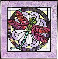 Dragonfly Stained Glass Applique Quilt Pattern by Three Swans Studios Pattern