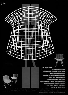 scandinaviancollectors:  Original Knoll advertisement for the Wire side chair by Harry Bertoia, designed in 1953. / Modern Design