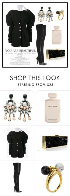 """""""Saturday look"""" by helloume ❤ liked on Polyvore featuring Elie Saab, Kamilah Willacy, Balenciaga, Noir Jewelry, black and marble"""