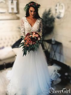 Long Sleeve Lace Tulle Boho Wedding Dresses Rustic Bridal Dress, Beach Wedding Dress This dress could be custom made, there are no extra cost to do custom size and color. Sheer Wedding Dress, Rustic Wedding Dresses, Long Wedding Dresses, Perfect Wedding Dress, Tulle Wedding, Wedding Rustic, Dream Wedding, Wedding Ideas, Fall Wedding Gowns