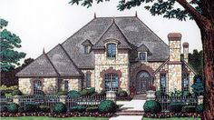 Floor Plan AFLFPW14738 - 2 Story Home Design with 4 BRs and 3 Baths. beautiful, small Chateau home