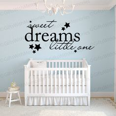 Nursery Decal   Sweet Dreams Little One Nursery Wall Decal   Nursery Wall  Decor   Girls