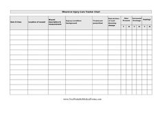 Wound Care Chart Printable Medical Form, free to download and print