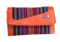 Damen #Geldbörse Geldbeutel Portemonnaie aus Peru, Mantastoff mit Leder 20 x 10 cm (Orange)