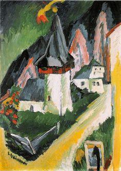 Ernst Ludwig Kirchner, Blick auf die Kirche von Monstein (View of the Church in Monstein) 1917-1918