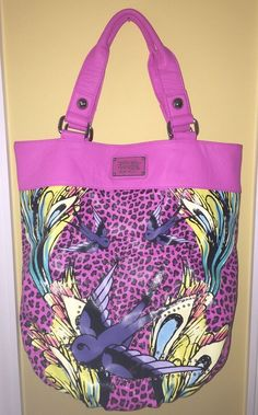 8d3207c231bd MINT Ed Hardy PINK CHEETAH Sparrow Bird TATTOO LARGE Oversized TOTE BAG  Purse