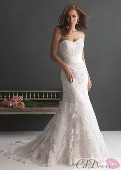 Gorgeous Mermaid Strapless Lace Wedding Dress - CDdress.com
