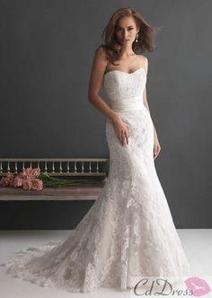 Gorgeous Mermaid Strapless Lace Wedding Dress - CDdress.com