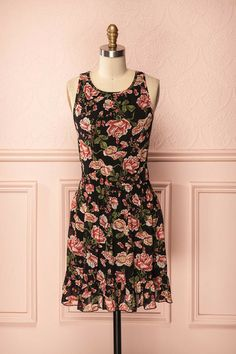 Viola - Back sleeveless dress with pink and green floral print