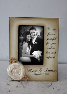 Wedding  Distressed Vintage Picture 4x6 Thank you Parent Photo Frame - Personalized Gift mother father bride groom in laws on Etsy, $50.00