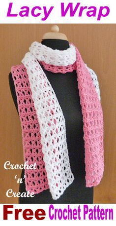 Pretty lacy wrap, made with simple cluster and single crochet stitches. This pretty lacy wrap is made using an easy combination of stitches and in two colors. Wear it any time of the year, put over your shoulders in . Crochet Lacy Scarf, Crochet Prayer Shawls, Crochet Shawls And Wraps, Crochet Scarves, Crochet Clothes, Crochet Stitches, Free Crochet, Crochet Patterns, Lace Scarf