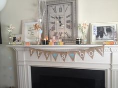 Shabby chic #babyshower for a boy - love the way this mantel is styled!