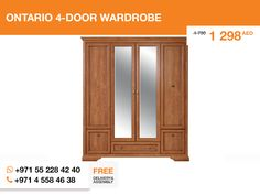 Another piece of #Ontario_furniture_set – the great 4-door wardrobe. It provide with two impressive mirrors for you to derive pleasure of yourself in the era of narcissism as modern philosophers say. Just kidding, keep calm. You can use it to discover the enigma of Human in yourself. And a wardrobe to keep clothes, which somehow keep this enigma topical.   More details here: http://gtfshop.com/ontario-wardrobe-4-door