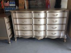 Metallic Two toned Dresser and Side Table.